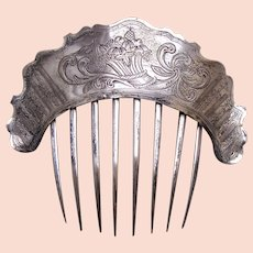 Early Victorian silver plated hair comb engraved floral design