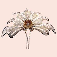 Vintage Indonesian hair comb filigree metal lotus design hair accessory (ABA)
