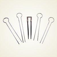 Five Edwardian hair pins rhinestones and metal hair accessories