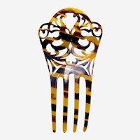 Art Nouveau style hair comb faux tortoiseshell interlaced hair accessory