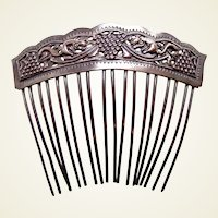 Chinese export hair comb silver tone hair accessory AAA