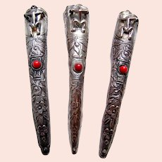 Chinese finger nail covers or protectors silver tone metal coral