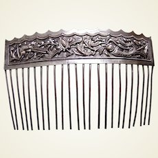 Chinese export hair comb silver tone hair accessory AAB