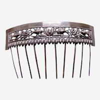 Chinese export hair comb silver tone hair accessory AAC