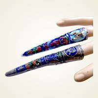 Chinese finger nail covers silver tone metal enamel