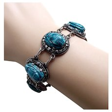 Egyptian Revival scarab bracelet Art Deco art glass silver tone metal AAA