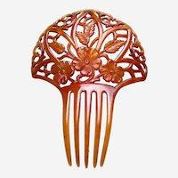 Art Nouveau hair comb amber floral celluloid hair accessory