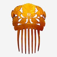 Victorian steer horn hair comb Spanish style leaves design hair ornament