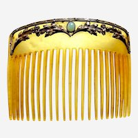 Art Nouveau hair comb gilt leaves design hair accessory