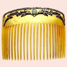 Art Nouveau hair comb gilt leaves design hair accessory
