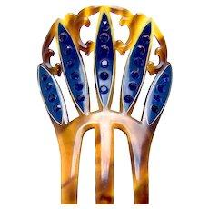 Art Deco hair comb blue rhinestone hand painted hair accessory