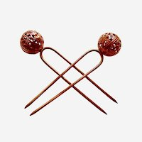 Victorian matched pair brass balls hair combs or hair pin accessories