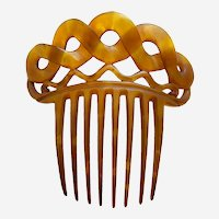 Victorian steer horn hair comb cable chain design hair ornament