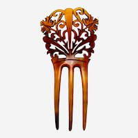 Steer horn hair comb Victorian Spanish style hair ornament