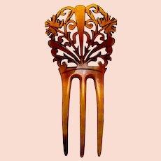 Steer horn hair comb Victorian Spanish style hair ornament