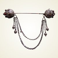 Early Victorian Moorish style hair ornament dangles hair pin slide