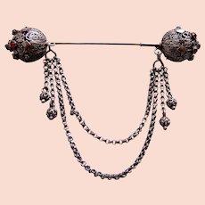 Early Victorian Moorish style hair ornament dangles hair pin slide