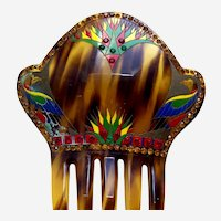 Art Deco hand painted hair comb in the Egyptian Revival style