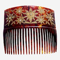 Late Victorian hair comb with gilded flowers hair accessory