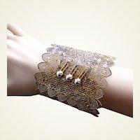 Victorian cuff bracelet filigree gold tone metal lacy design