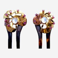 Matched pair Victorian hair combs moonstone garnet hair accessories