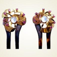 Matched pair Victorian hair combs moonstone garnet hair accessories