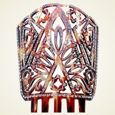 Mid century rhinestone hair comb in faux tortoiseshell Spanish mantilla style