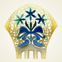 Art Deco celluloid hair comb painted flower decoration vanity item