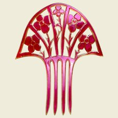 Pink celluloid hair comb Art Deco fan shaped hair ornament