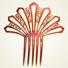 Pink celluloid hair comb Art Deco fan shaped hair ornament