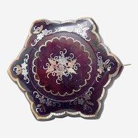 Victorian brooch with pique inlay