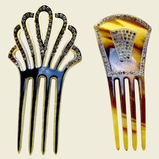 Two Art Deco rhinestone hair combs Spanish style hair accessories
