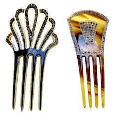 Two Art Deco rhinestone hair combs Spanish style hair accessories