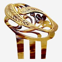 Art Nouveau hair comb with gilded decoration hair ornament