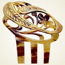 Art Nouveau hair comb with gilded decoration hair ornament