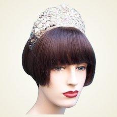 Theatrical crown headdress silver metal rhinestones headpiece
