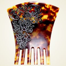 Victorian faux tortoiseshell hair comb silver embellished hair ornament