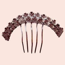 Early Victorian hair comb with silver tone metal flowers hair ornament
