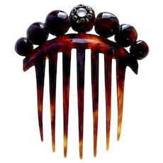 Victorian faux tortoiseshell hair comb with decorative balls hair ornament