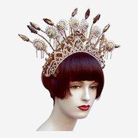 Indonesian traditional wedding headdress flowers on springs headpiece