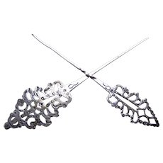 Two silver single prong hair pins arrow shape hair accessories AAA
