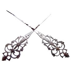 Two silver single prong hair pins arrow shape hair accessories AAB