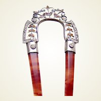 Edwardian hair ornament rhinestone filigree hair comb accessory AAB