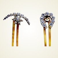Two Edwardian hair combs rhinestone hinged hair ornament AAC