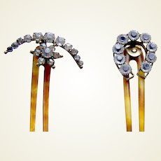 Two Edwardian hair combs rhinestone hinged hair ornament AAC