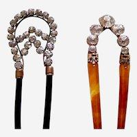 Two Edwardian hair combs rhinestone hair ornament pin AAE