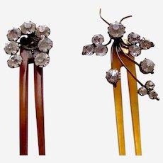 Two Edwardian hair combs rhinestone hinged hair ornament AAF
