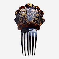 Late Victorian hair comb faux tortoiseshell Spanish style hair ornament