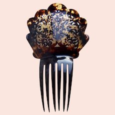Late Victorian hair comb faux tortoiseshell Spanish style hair ornament