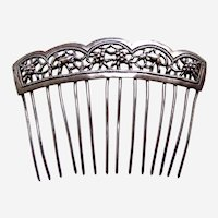 Chinese export hair comb silver tone hair accessory AAD